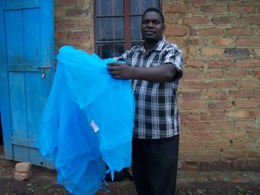 New Olyset mosquito nets being installed at Gables Vocational Centre